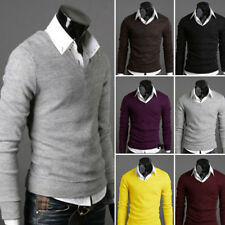Mens Stylish V-neck Casual Slim Fit Pullover Sweater Shirt Jumper Top Sweatshirt