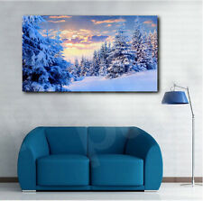 Forest Under Snow Beautiful Winter Art Canvas Poster Print Home Wall Decor