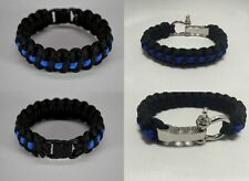 Thin Blue Line Survival Paracord Bracelet Support Police Lives Matter Wristband