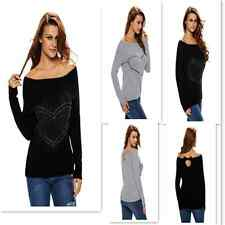 Women's New Long Sleeve Sweater Rhinestone Decor Off-shoulder Cardigan Blouse