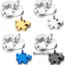 2pcs Stainless Steel Puzzle Heart Jigsaw Love Couple Pendant Necklaces Engraving