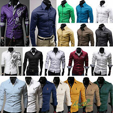 Men's Long Sleeve Casual Polo Shirts Formal Dress Slim Fit Business Tee Tops New