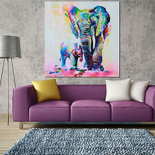 Multicolor Elephant Canvas Painting Frameless Pictures Living Room Decor Beamy