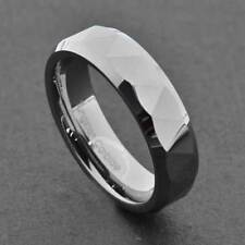 6mm Triangle Facet Shiny Bevel Edge Tungsten Carbide Band Women's Wedding Ring