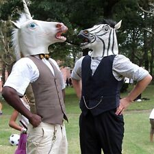 Halloween White Unicorn Horse Head Mask Latex for Crazy Cosplay Party LOT GK