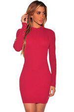 New Sexy Womens Ladies Long Sleeves Ribbed Knit Cut out Back Bodycon Short Dress