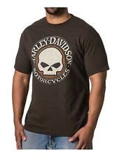 Harley-Davidson Men's Leather Willie G Skull Short Sleeve T-Shirt, Dark Brown