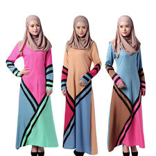 New Muslim Women Long Sleeve Loose Dress Arab Kaftan Abaya Robe Cocktail Gown