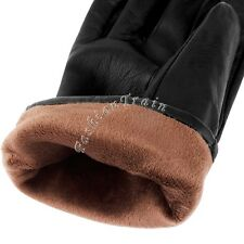 Mens Gloves Genuine Leather Velvet Winter Warm Velvet Mittens Driving Gifts L-XL