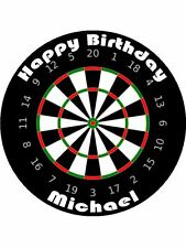 30-90 PRE-CUT EDIBLE WAFER CUP CAKE TOPPERS DARTBOARD DARTS PLAYER FAN ANY NAME