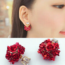 Fashion Women Girls 18K Gold Filled Jewelry Rose Flower Crystal Stud Earring