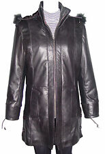 5002 Women New Hooded Black Leather Coat With Removable Hood Fox Fur Trim Anorak