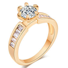 White Round Crystal Exquisite Exquisite CZ Ring 18K GP Ring Size 6/7/8/9