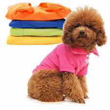Pet Small Dog Apparel Clothes Clothing Solid Color 100% Cotton Cute POLO Shirt