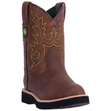 John Deere Children Boys Brown Faux Leather Everyday Cowboy Boots