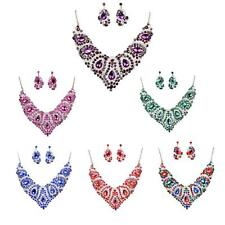 Crystal Jewelry Set Pendant Chain Choker Chunky Statement Bib Necklace Earrings