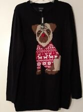 Womens Sweater Black Fuzzy Stitches on Brown Dog Long Fit New Directions XL M