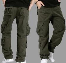 Mens Outdoor Cargo Camo Cotton Blend Loose Overall Casual Trousers Pants 30-46
