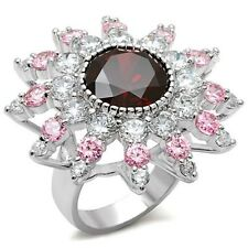 Silver Rhodium Plated Deco Flower Cocktail Ring Pink Red Cubic Zirconia Size 8 9