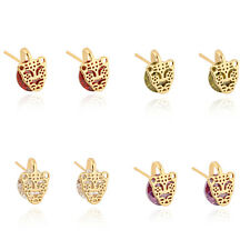 Lovely 18K Gold Plated Big Round Crystal Ruby Tiger Head Luck Stud Earrings