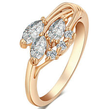 Leaves Flower Clear CZ Cute Rings Size6 7 8 9 Fashion Jewelry Vintage Girls