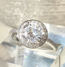 AMAZING SPARKLE  Brilliant Round CZ  Engagement Ring Stamped 925 Sterling Silver