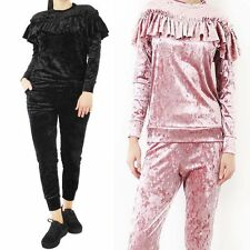 NEW WOMENS LADIES RUFFLE FRILL CRUSHED VELOUR VELVET LOUNGE WEAR TRACKSUIT SET