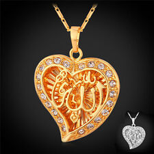 Allah Pendant Heart Fine Jewelry New Vintage Rhinestone Necklace Women 18K Gold