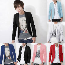 Mens Stylish Casual Slim Fit One Button Suit Blazer Coat Jacket Tops Cool Suits
