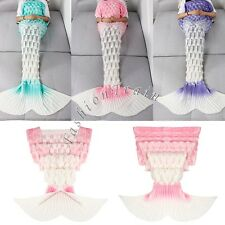 Gradient Handcrafted Crochet Knitted Mermaid Tail Adult Blanket Christmas Gifts