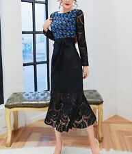 2017 spring long sleeve yellow or black lace dress sexy makings pretty prom SML