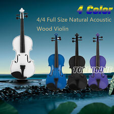 4/4 Full Size Natural Acoustic Wood Violin Fiddle + Case +Bow+Rosin For Beginner