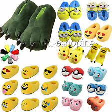 Unisex Animal Paw/Emoticon/Pokemon Winter Indoor Warm Slippers Anti-Slip Shoes