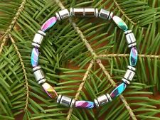 Rainbow and Silver Necklace Anklet Bracelet 100% Magnetic Beads and Clasp