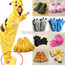 New Adults Kids Paw Claw Slippers Winter Warm Home Indoor Soft Plush Shoes Flats
