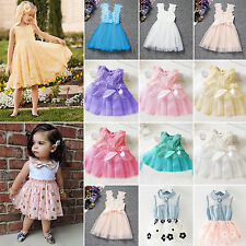 Kids Baby Girls Princess Tulle Tutu Dress Pageant Wedding Party Summer Sundress
