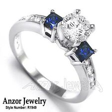 Platinum Genuine Princess Cut Sapphire and Round Diamond Ring