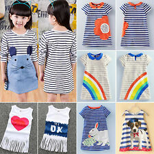 Kids Baby Girls Cartoon Shift Dresses Summer Party T-Shirt Clothes Sundress 2-7Y