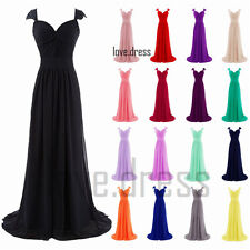 Stock Hot Long Chiffon Formal Prom Ball Bridesmaid Evening Gowns Dress Size 6-22