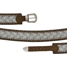 Angel Ranch Western Womens Belt Studded Lace Inlay Distressed Brown A3512