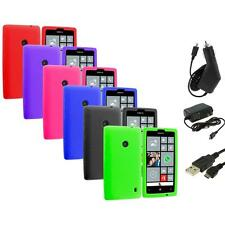 For Nokia Lumia 520 Silicone Soft Rubber Skin Case Cover Color+3X Chargers