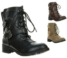 New Soda Women's Ankle Buckle Lace Up Military Combat Army Boot NOVA-H