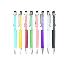 Crystal 2 in1 Touch Screen Stylus Ballpoint Pen for iPhone iPad Smartphone~FW