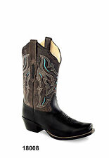 Old West Brown Womens Leather Scallop Cowboy Western Boots Boots