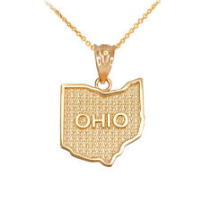 14k Yellow Gold Ohio State Map United States Pendant Necklace