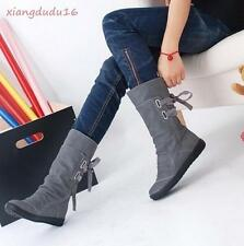 Womens Fashion Faux suede Flat hidden wedge heels Mid Calf Boots Plus Size