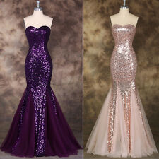 Sequins Long Bridesmaid Formal Evening Cocktail Prom Party Gown Dress Mermaid