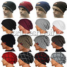 NEW Unisex Wool Croche Knit Ski Beanie Skull Slouchy Cap Winter Warm Thick Hats