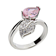 Sterling Silver Pear Cut Pink Cubic Zirconia Bypass Women's Wedding Ring