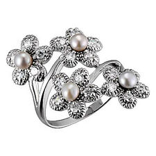 Sterling Silver Fresh Water Pearl Floral Jewelry Women Wedding Engagement Ring